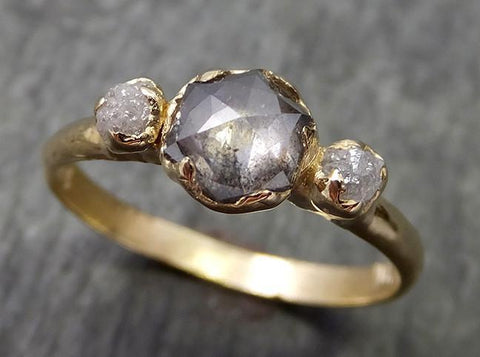 Fancy cut salt and pepper Diamond Engagement 14k Yellow Gold Multi stone Wedding Ring Stacking Rough Diamond Ring byAngeline 0609 - Gemstone ring by Angeline