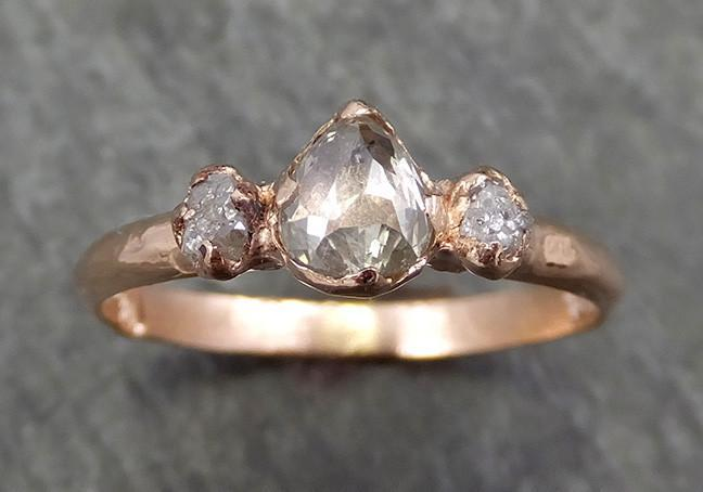Faceted Fancy cut Champagne Diamond Engagement 14k Rose Gold Multi stone Wedding Ring Rough Diamond Ring byAngeline 0614 - Gemstone ring by Angeline