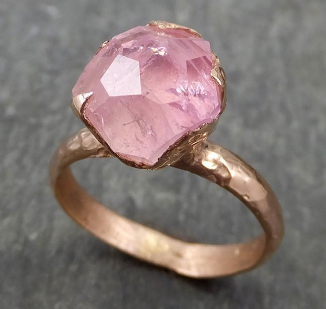 Partially Faceted Pink Topaz 14k rose Gold Ring One Of a Kind Gemstone Ring Recycled gold byAngeline 0615 - Gemstone ring by Angeline