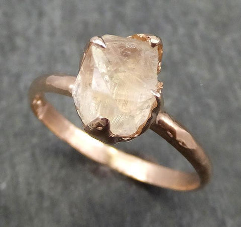 Raw Rough Champagne Topaz 14k Rose gold Solitaire Ring Gold Pink Gemstone Engagement Statement Ring Raw gemstone Jewelry 0616 - Gemstone ring by Angeline
