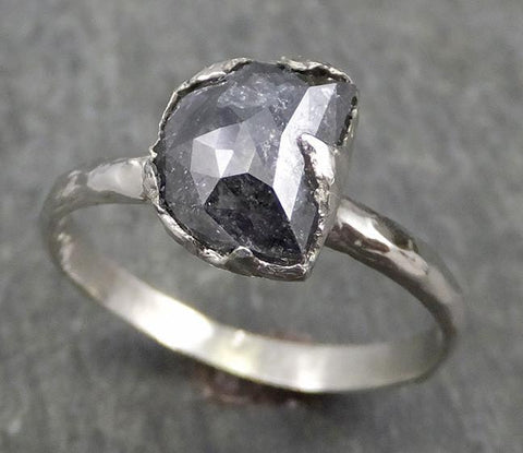 Fancy Cut Half Moon Diamond Solitaire Engagement 18k White Gold Wedding Ring byAngeline 0617 - Gemstone ring by Angeline