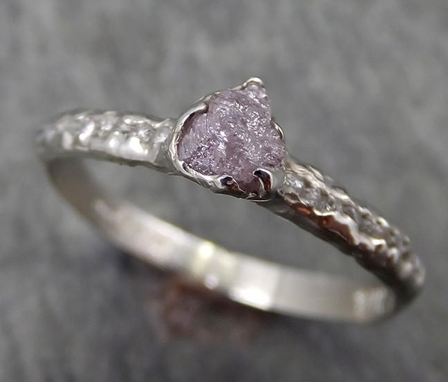 Raw Rough Uncut Diamond 14k White Gold Pink Diamond Wedding Ring byAngeline 0618 - Gemstone ring by Angeline