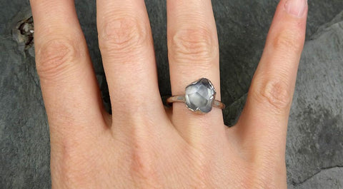Partially Faceted Sapphire Solitaire 14k white Gold Engagement Ring Wedding Ring Custom One Of a Kind Gemstone Ring 0619 - Gemstone ring by Angeline