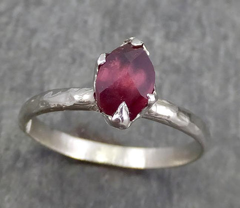 Partially faceted Natural Garnet Gemstone ring Recycled White Gold One of a kind Gemstone ring 0620 - Gemstone ring by Angeline