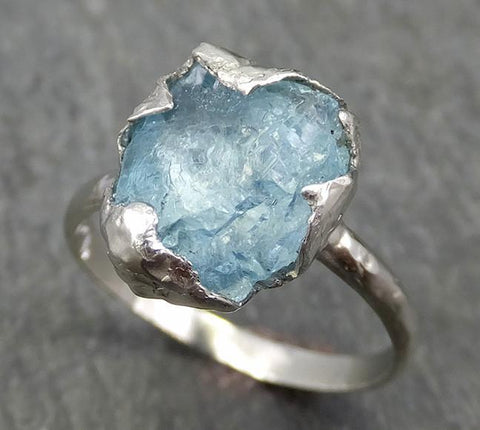 uncut Aquamarine Solitaire Ring Custom One Of a Kind Gemstone Ring Bespoke byAngeline 0621 - Gemstone ring by Angeline
