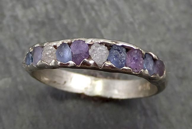 Raw White Diamond and Montana blue Violet Sapphire Gold Wedding band Ring Multi stone byAngeline 0627 - Gemstone ring by Angeline
