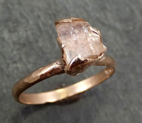 Raw Rough Champagne Topaz 14k Rose gold Solitaire Ring Gold Pink Gemstone Engagement Statement Ring Raw gemstone Jewelry 0628 - Gemstone ring by Angeline