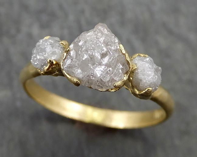 18k Raw Rough Diamond gold Engagement Multi stone Three Ring Rough Gold Wedding Ring diamond Wedding Ring Rough Diamond Ring byAngeline 0629 - Gemstone ring by Angeline