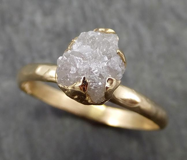 Raw Diamond Engagement Ring Rough Uncut Diamond Solitaire Recycled 14k yellow gold Conflict Free Diamond Wedding Promise 0633 - Gemstone ring by Angeline