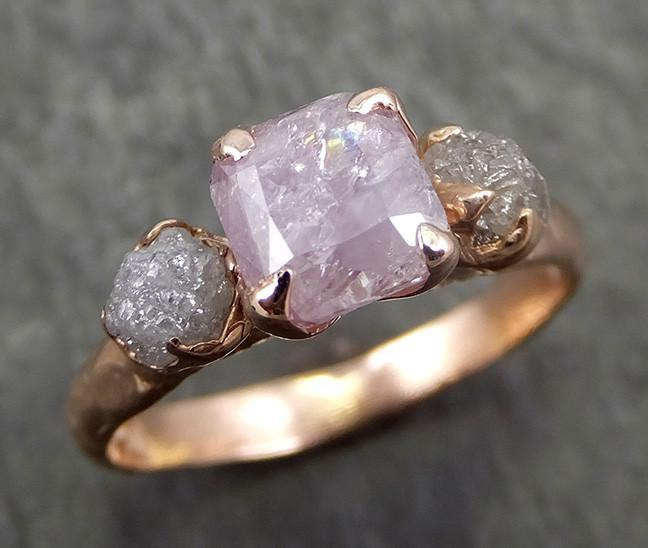 Faceted Fancy cut Pink Diamond Engagement 14k Rose Gold Multi stone Wedding Ring Rough Diamond Ring byAngeline 0635 - Gemstone ring by Angeline