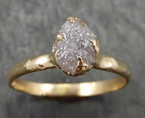Raw Diamond Engagement Ring Rough Uncut Diamond Solitaire Recycled 14k yellow gold Conflict Free Diamond Wedding Promise 0634 - Gemstone ring by Angeline