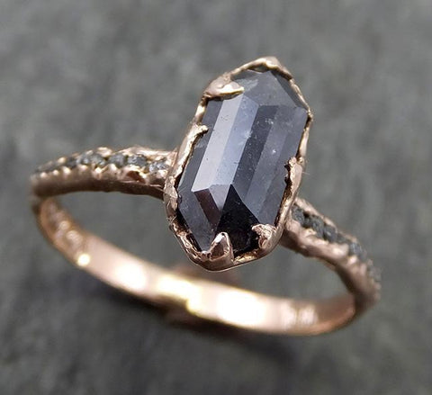 Fancy cut Salt and pepper Diamond Engagement 14k Rose Gold Wedding Ring Rough Diamond Ring byAngeline 0637 - Gemstone ring by Angeline