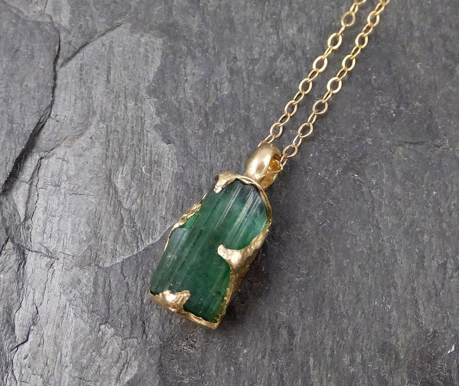 Raw Rough Tourmaline 14k gold Pendant green Gemstone Necklace Raw gemstone Jewelry byAngeline 0887
