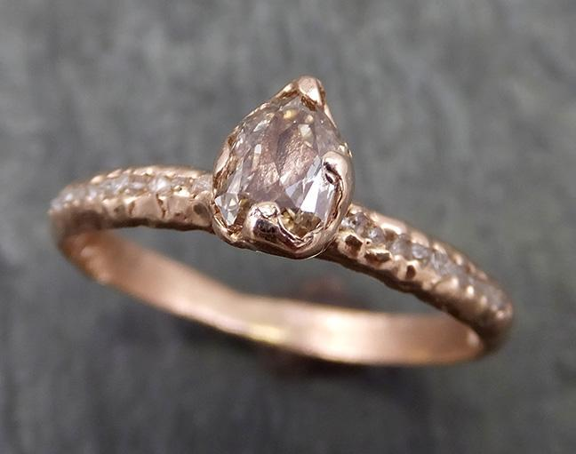 Fancy cut Champagne Diamond Engagement 14k Rose Gold Multi stone Wedding Ring Rough Diamond Ring byAngeline 0640 - Gemstone ring by Angeline