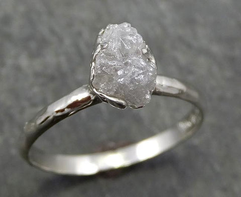 Rough Diamond Engagement Ring Raw 14k White Gold Ring Wedding Diamond Solitaire Rough Diamond Ring byAngeline 0641 - Gemstone ring by Angeline