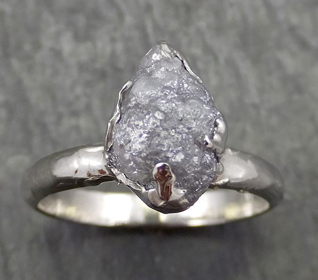 Rough Diamond Engagement Ring Raw 14k White Gold Ring Wedding Diamond Solitaire Rough Diamond Ring byAngeline 0642 - Gemstone ring by Angeline