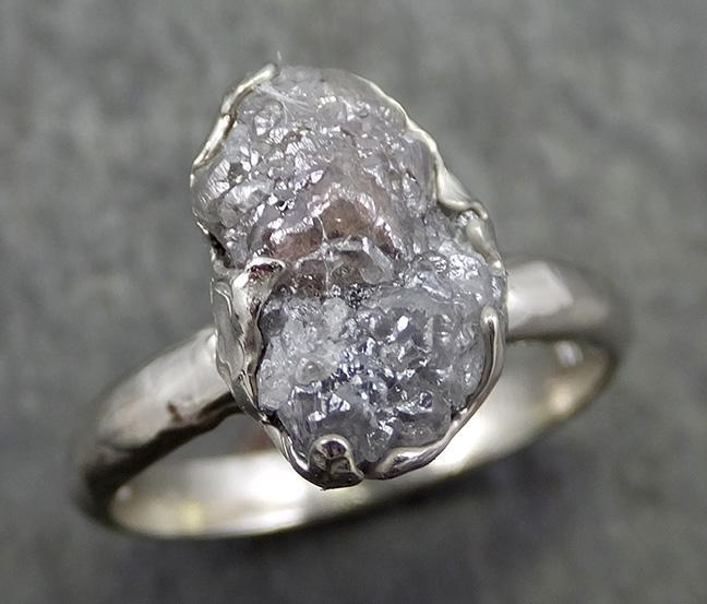 Rough Diamond Engagement Ring Raw 14k White Gold Ring Wedding Diamond Solitaire Rough Diamond Ring byAngeline 0642.1 - Gemstone ring by Angeline