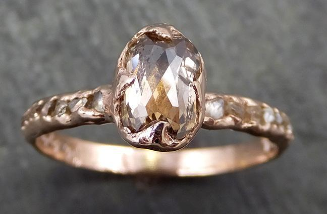 Fancy cut Champagne Diamond Engagement 14k Rose Gold Multi stone Wedding Ring Rough Diamond Ring byAngeline 0645 - Gemstone ring by Angeline