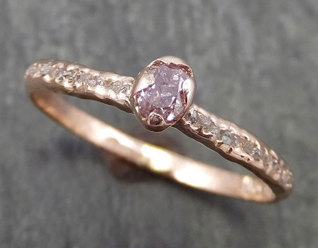 Fancy cut Champagne Diamond Engagement 14k Rose Gold Multi stone Wedding Ring Rough Diamond Ring byAngeline 0646 - Gemstone ring by Angeline