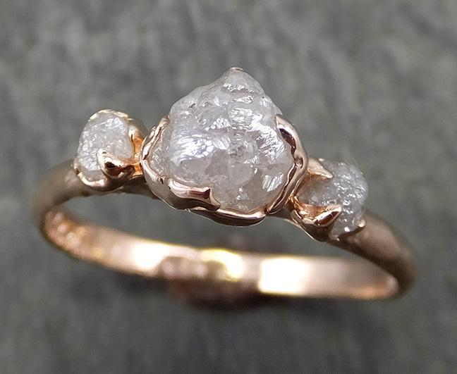 14k Raw Rough Diamond gold Engagement Multi stone Ring Rough Gold Wedding Ring diamond Wedding Ring Rough Diamond Ring byAngeline 0647 - Gemstone ring by Angeline