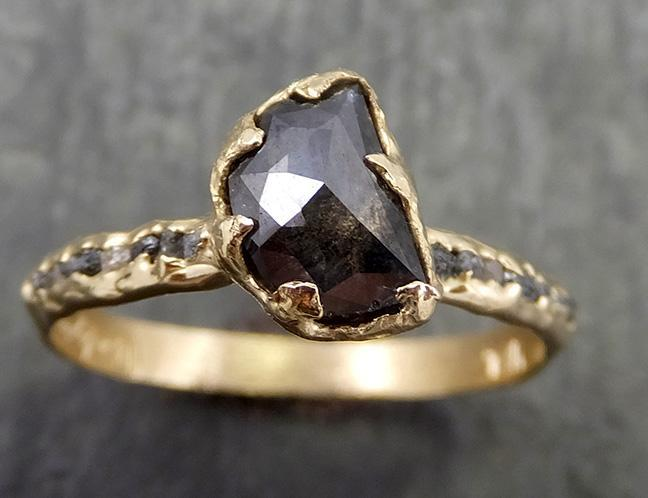 Fancy cut half moon Salt and pepper Diamond Engagement 14k yellow Gold Wedding Ring Rough Diamond Ring byAngeline 0648 - Gemstone ring by Angeline
