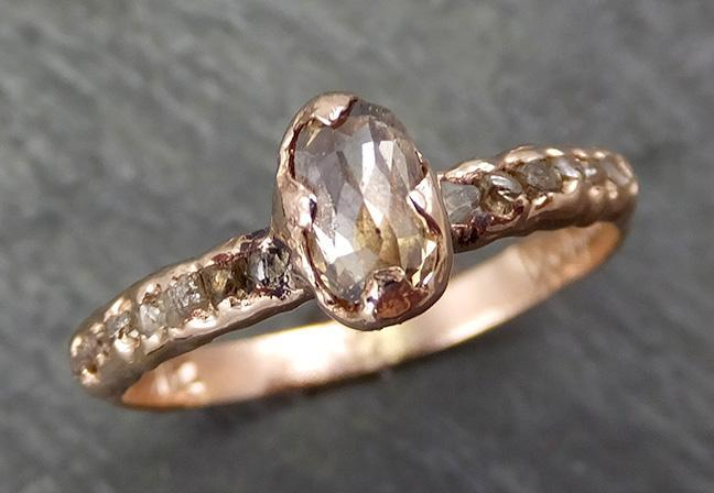 Fancy cut Champagne Diamond Engagement 14k Rose Gold Multi stone Wedding Ring Rough Diamond Ring byAngeline 0644 - Gemstone ring by Angeline
