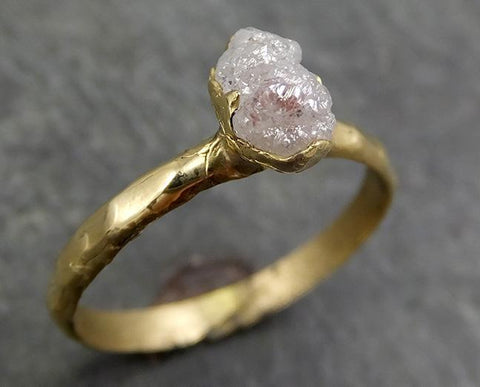 Raw Diamond Engagement Ring Rough Uncut Diamond Solitaire Recycled 14k gold Conflict Free Diamond Wedding Promise byAngeline 0649 - Gemstone ring by Angeline