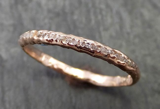Raw Rough Uncut Contour Diamond Wedding Band 14k Rose Gold Diamond Wedding Ring byAngeline C0670 - Gemstone ring by Angeline