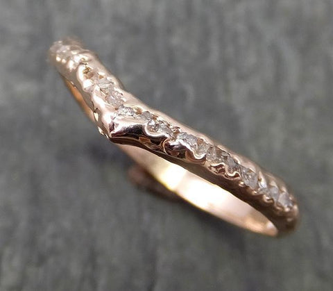 Raw Rough Uncut Diamond Contour Curved Wedding Band rose 14k Gold Wedding Ring C0650 - Gemstone ring by Angeline