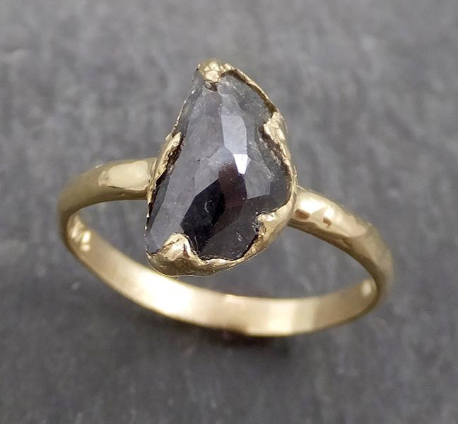 Fancy cut salt and pepper Half moon Diamond Engagement 14k yellow Gold Solitaire Wedding Ring byAngeline 0654 - Gemstone ring by Angeline