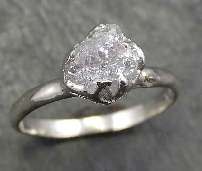 Rough Diamond Engagement Ring Raw 14k White Gold Ring Wedding Diamond Solitaire Rough Diamond Ring byAngeline 0655 - Gemstone ring by Angeline