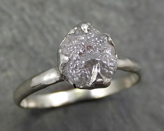 Rough Diamond Engagement Ring Raw 14k White Gold Ring Wedding Diamond Solitaire Rough Diamond Ring byAngeline 0657 - Gemstone ring by Angeline