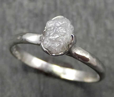 Rough Diamond Engagement Ring Raw 14k White Gold Ring Wedding Diamond Solitaire Rough Diamond Ring byAngeline 0658 - Gemstone ring by Angeline