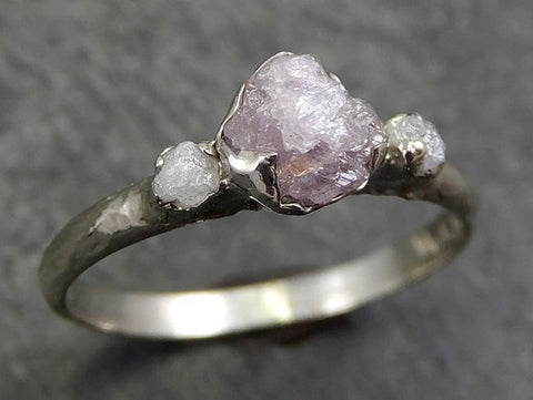 Dainty Raw Rough Pink Diamond Engagement Stacking Multi stone ring Wedding anniversary white Gold 14k Rustic 0662 - Gemstone ring by Angeline