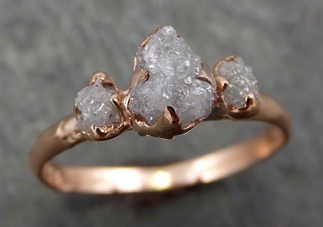 Dainty Raw Rough Pink Diamond Engagement Stacking Multi stone ring Wedding anniversary Rose Gold 14k Rustic 0663 - Gemstone ring by Angeline