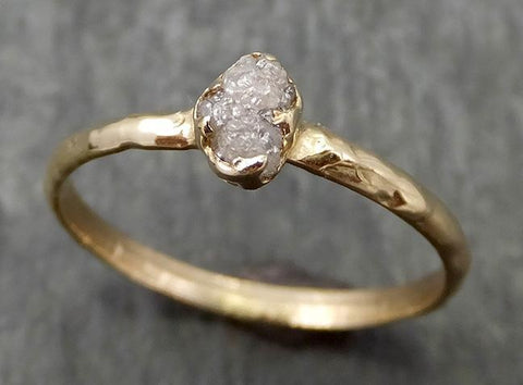Raw Dainty Diamond Engagement Ring Rough Uncut Diamond Solitaire Recycled 14k yellow  gold Conflict Free Diamond Wedding Promise 0666 - Gemstone ring by Angeline