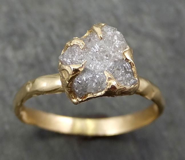 Raw Dainty Diamond Engagement Ring Rough Uncut Diamond Solitaire Recycled 14k gold Conflict Free Diamond Wedding Promise 0667 - Gemstone ring by Angeline