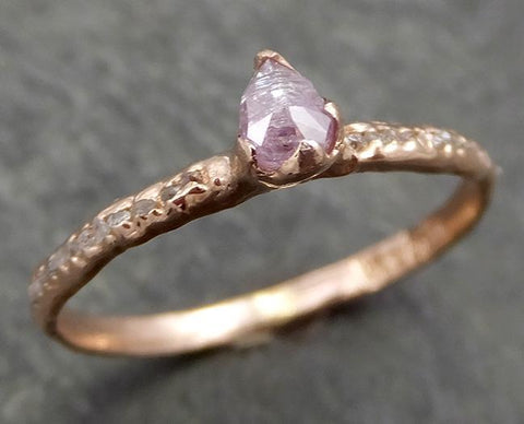 Fancy cut Champagne Diamond Engagement 14k Rose Gold Multi stone Wedding Ring Rough Diamond Ring byAngeline 0668 - Gemstone ring by Angeline