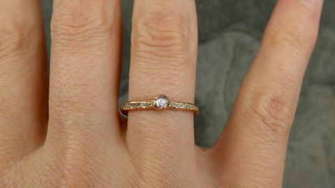 Fancy cut Champagne Diamond Engagement 14k Rose Gold Multi stone Wedding Ring Rough Diamond Ring byAngeline 0669 - Gemstone ring by Angeline