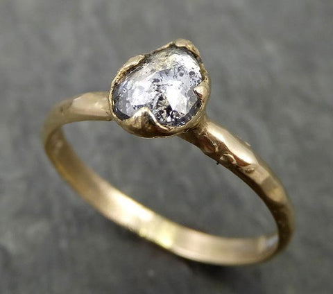 Fancy cut salt and pepper Diamond Engagement 14k yellow Gold Solitaire Wedding Ring byAngeline 0676 - Gemstone ring by Angeline