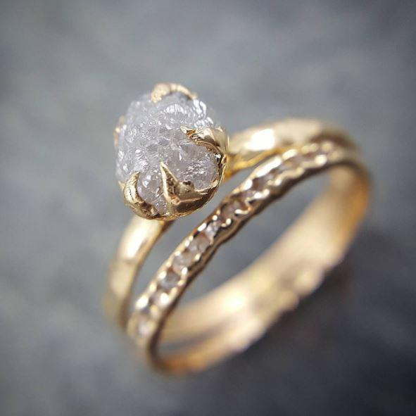 Raw Diamond Engagement Ring Set Rough Uncut Diamond Solitaire Recycled 14k gold Conflict Free Diamond Wedding Promise 0677 - Gemstone ring by Angeline