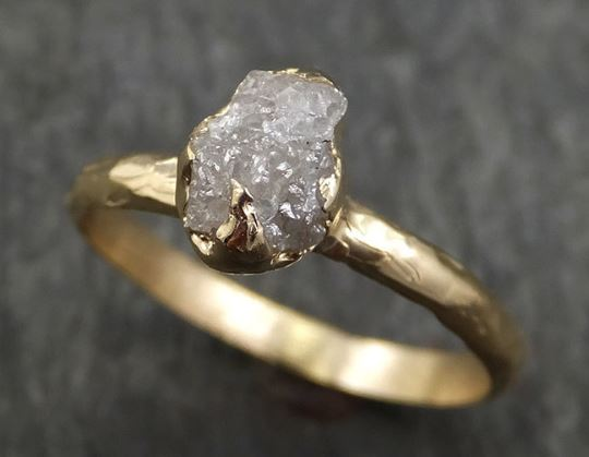 Raw Diamond Engagement Ring Rough Uncut Diamond Solitaire Recycled 14k gold Conflict Free Diamond Wedding Promise byAngeline 0429 - Gemstone ring by Angeline