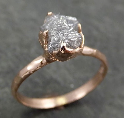 Raw Diamond Solitaire Engagement Ring Rough Uncut Rose gold Conflict Free Silver Diamond Wedding Promise 0689 - Gemstone ring by Angeline
