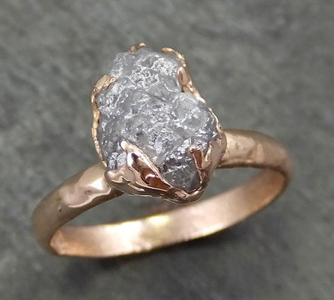 Raw Diamond Solitaire Engagement Ring Rough Uncut Rose gold Conflict Free Silver Diamond Wedding Promise 0690 - Gemstone ring by Angeline