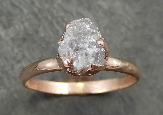 Raw Diamond Solitaire Engagement Ring Rough Uncut Rose gold Conflict Free Silver Diamond Wedding Promise 0692 - Gemstone ring by Angeline