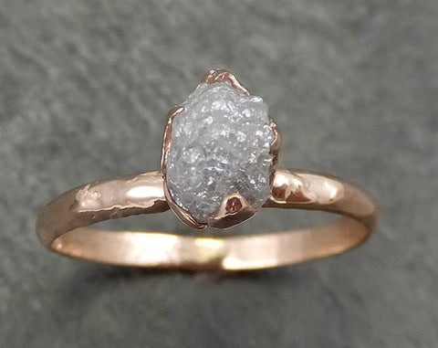 Raw Diamond Solitaire Engagement Ring Rough Uncut Rose gold Conflict Free Silver Diamond Wedding Promise 0694 - Gemstone ring by Angeline