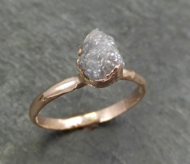 Raw Diamond Solitaire Engagement Ring Rough Uncut Rose gold Conflict Free Silver Diamond Wedding Promise 0695 - Gemstone ring by Angeline