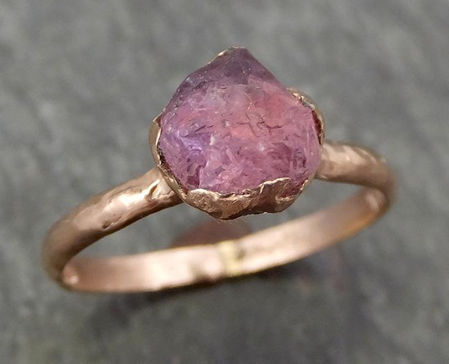 Raw Sapphire montana sapphire Rose Gold Engagement Ring Magenta Wedding Ring Custom One Of a Kind Gemstone Ring Solitaire Ring byAngeline 0696 - Gemstone ring by Angeline