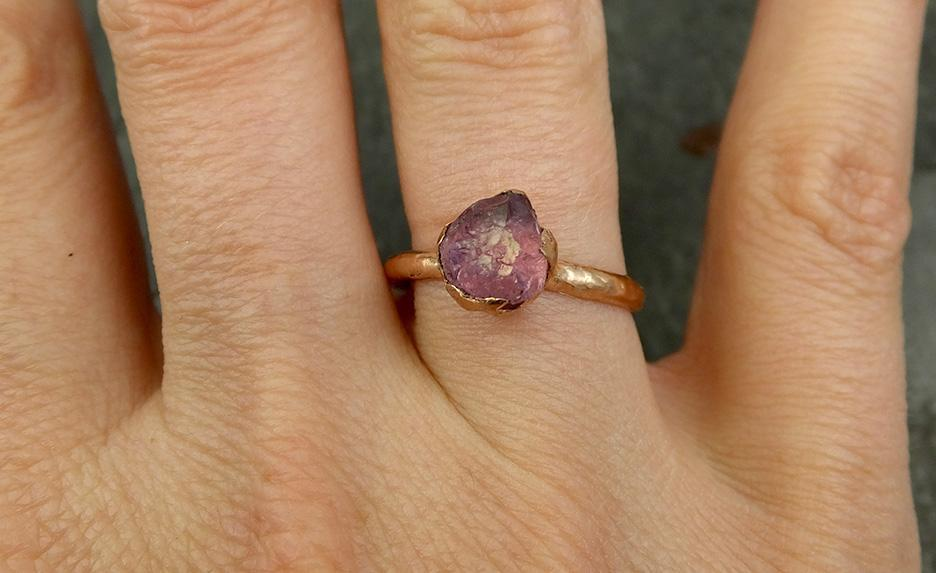 Raw Sapphire montana sapphire Rose Gold Engagement Ring Magenta Wedding Ring Custom One Of a Kind Gemstone Ring Solitaire Ring byAngeline 0696