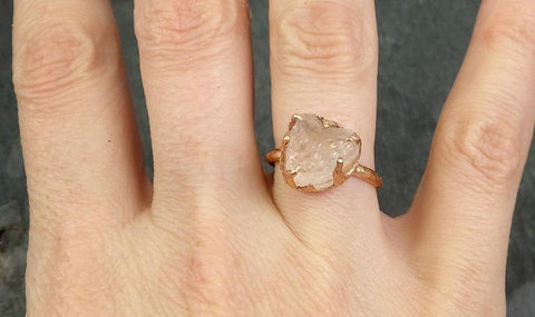 Raw Rough Morganite 14k Rose gold solitaire Pink Gemstone Cocktail Ring Statement Ring Raw gemstone Jewelry byAngeline 0697 - Gemstone ring by Angeline